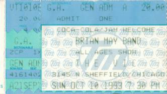 Ticket stub - Brian May live at the The Vic Theater, Chicago, IL, USA [10.10.1993]