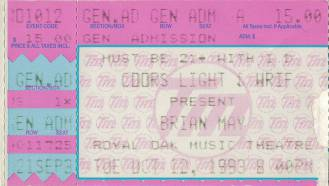 Ticket stub - Brian May live at the Royal Oak Theater, Detroit, MI, USA [12.10.1993]