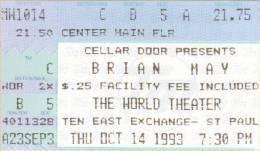 Ticket stub - Brian May live at the The World Theater, St. Paul, MN, USA [14.10.1993]