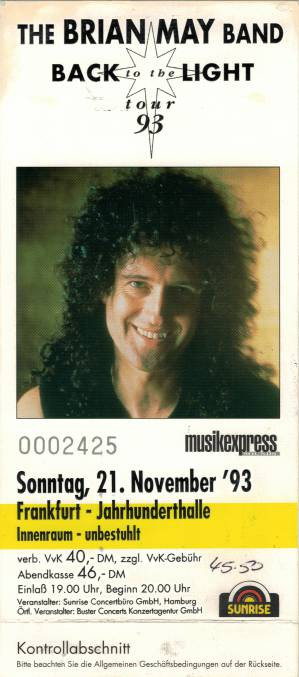 Ticket stub - Brian May live at the Jahrhunderthalle, Frankfurt, Germany [21.11.1993]