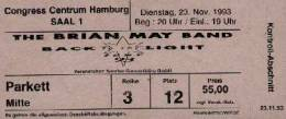 Ticket stub - Brian May live at the Congress Centrum, Hamburg, Germany [23.11.1993]