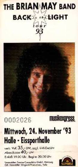 Ticket stub - Brian May live at the Eissporthalle, Halle, Germany [24.11.1993]
