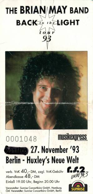 Ticket stub - Brian May live at the Huxley's Neue Welt, Berlin, Germany [27.11.1993]