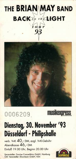 Ticket stub - Brian May live at the Philipshalle, Düsseldorf, Germany [30.11.1993]