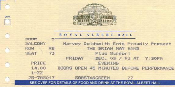 Ticket stub - Brian May live at the Royal Albert Hall, London, UK [03.12.1993]