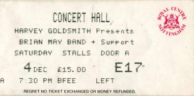 Ticket stub - Brian May live at the Concert Hall, Nottingham, UK [04.12.1993]