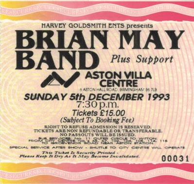 Ticket stub - Brian May live at the Aston Villa Centre, Birmingham, UK [05.12.1993]