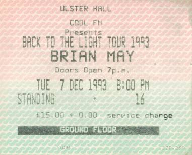 Ticket stub - Brian May live at the Ulster Hall, Belfast, UK [07.12.1993]