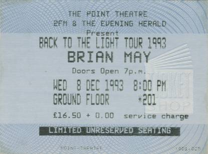 Ticket stub - Brian May live at the The Point Theatre, Dublin, Ireland [08.12.1993]