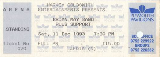 Ticket stub - Brian May live at the Plymouth Pavilion, Plymouth, UK [11.12.1993]