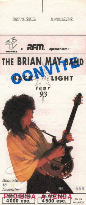 Ticket stub - Brian May live at the Pavilhao do Boavista FC, Oporto, Portugal [18.12.1993]