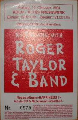 Ticket stub - Roger Taylor live at the Altes Presswerk, Cologne, Germany [14.10.1994]