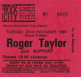 Ticket stub - Roger Taylor live at the Rock City, Nottingham, UK [22.11.1994]