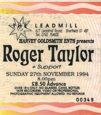 Ticket stub - Roger Taylor live at the The Leadmill, Sheffield, UK [27.11.1994]