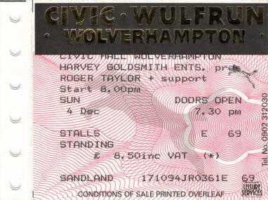 Ticket stub - Roger Taylor live at the Civic Hall, Wolverhampton, UK [04.12.1994]