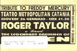 Ticket stub - Roger Taylor live at the Teatro Metropolitan, Catania, Italy [26.01.1995]