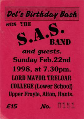 Ticket stub - Roger Taylor live at the Alton, Hampshire, UK (with SAS Band) [22.02.1998]