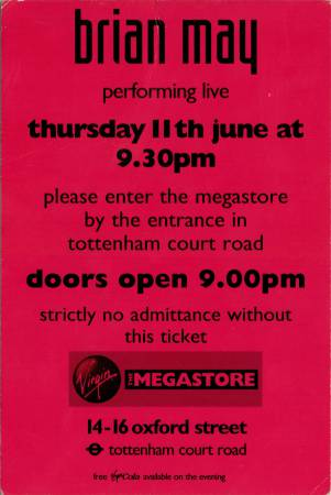 Ticket stub - Brian May live at the Virgin Megastore (Oxford street), London, UK [11.06.1998]