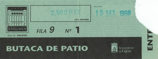 Ticket stub - Brian May live at the Teatro Jovellanos, Gijon, Spain [15.09.1998]
