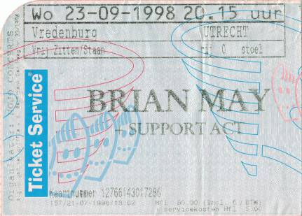 Ticket stub - Brian May live at the Vredenburg, Utrecht, The Netherlands [23.09.1998]