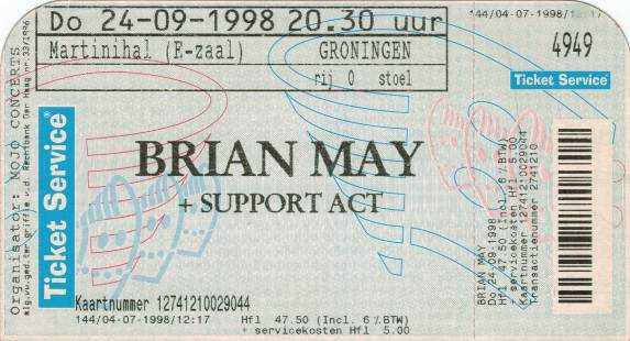 Ticket stub - Brian May live at the Martinihal, Groningen, The Netherlands [24.09.1998]