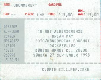 Ticket stub - Brian May live at the Rockafella, Oslo, Norway [27.09.1998]