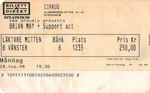 Ticket stub - Brian May live at the Cirkus, Stockholm, Sweden [28.09.1998]