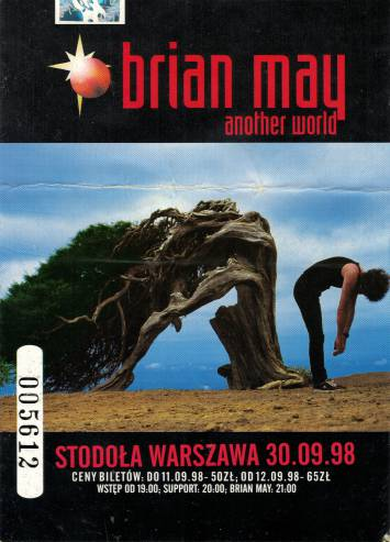 Ticket stub - Brian May live at the Stodola, Warsaw, Poland [30.09.1998]