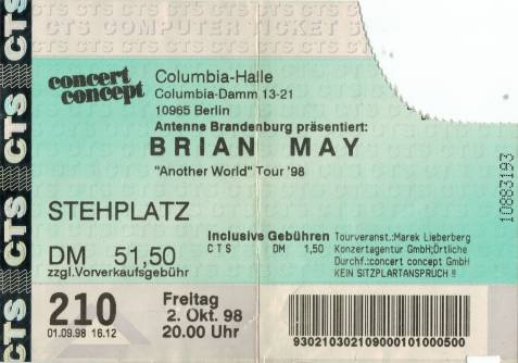 Ticket stub - Brian May live at the Columbia Halle, Berlin, Germany [02.10.1998]