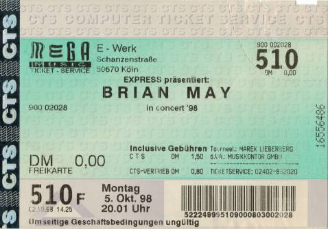 Ticket stub - Brian May live at the E-Werk, Cologne, Germany [05.10.1998]