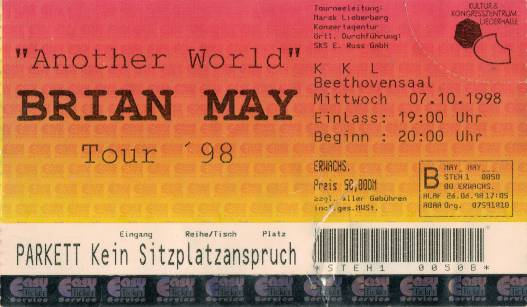 Ticket stub - Brian May live at the Beethovensaal, Stuttgart, Germany [07.10.1998]