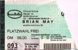 Ticket stub - Brian May live at the Circus Krone, Munich, Germany [08.10.1998]