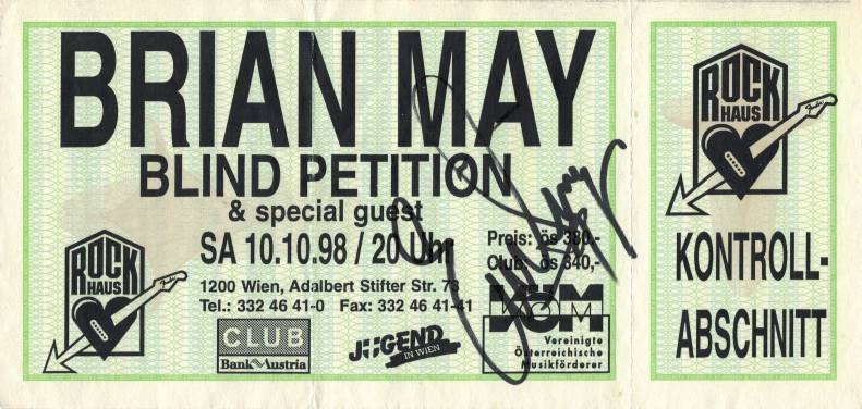 Ticket stub - Brian May live at the Rock Haus, Vienna, Austria [10.10.1998]