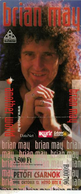 Ticket stub - Brian May live at the Petofi Csarnok, Budapest, Hungary [12.10.1998]