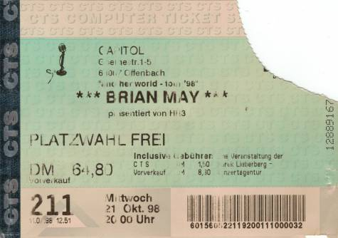 Ticket stub - Brian May live at the Capitol, Offenbach, Germany [21.10.1998]