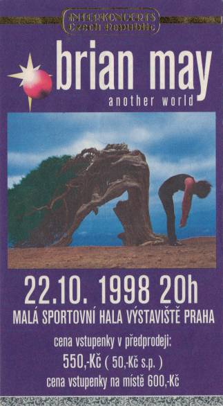 Ticket stub - Brian May live at the Mala Sportovni Hala, Prague, Czech Republic [22.10.1998]