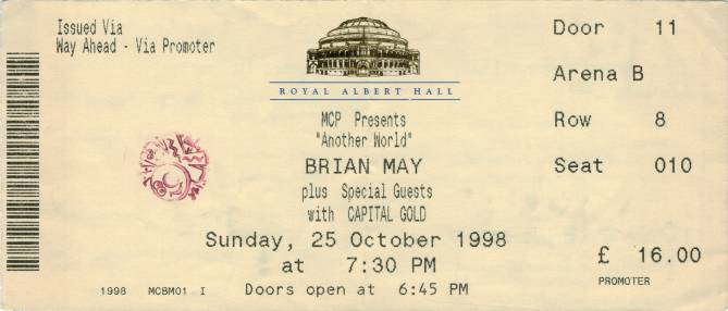 Ticket stub - Brian May live at the Royal Albert Hall, London, UK [25.10.1998]