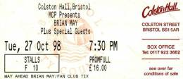 Ticket stub - Brian May live at the Colston Hall, Bristol, UK [27.10.1998]