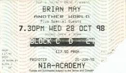 Ticket stub - Brian May live at the National Indoor Arena, Birmingham, UK [28.10.1998]