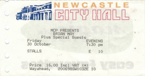 Ticket stub - Brian May live at the City Hall, Newcastle, UK [30.10.1998]