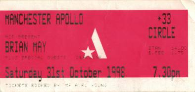 Ticket stub - Brian May live at the Apollo Theatre, Manchester, UK [31.10.1998]