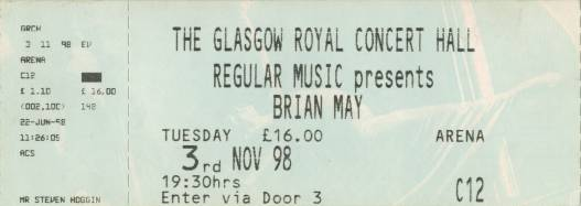 Ticket stub - Brian May live at the The Glasgow Royal Concert Hall, Glasgow, UK [03.11.1998]