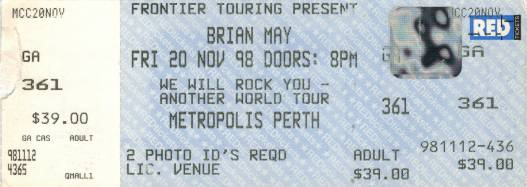 Ticket stub - Brian May live at the Metropolis, Perth, Australia [20.11.1998]