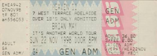 Ticket stub - Brian May live at the Heaven II, Adelaide, Australia [22.11.1998]