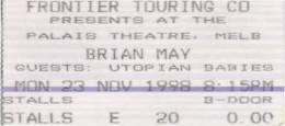 Ticket stub - Brian May live at the Palais Theatre, Melbourne, Australia [23.11.1998]