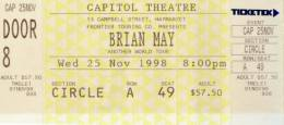 Ticket stub - Brian May live at the Capitol Theatre, Sydney, Australia [25.11.1998]