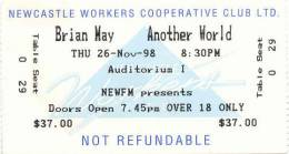 Ticket stub - Brian May live at the Newcastle Workers Cooperative Club, Newcastle, Australia [26.11.1998]