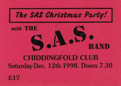 Ticket stub - Brian May live at the Chiddingfold Club, Chiddingfold, UK (with SAS Band) [12.12.1998]