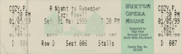 Ticket stub - Brian May live at the Opera House, Buxton, UK (Cozy Powell tribute with SAS Band) [01.05.1999]