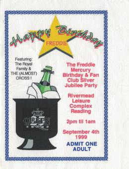 Ticket stub - Brian May live at the Rivermead Leisure Complex, Reading, UK (with SAS Band / The Cross) [04.09.1999]
